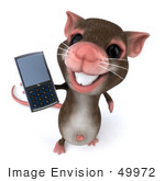 #49972 Royalty-Free (Rf) Illustration Of A 3d Mouse Mascot Using A Cell Phone - Version 2