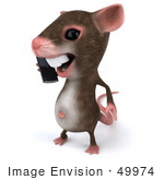 #49974 Royalty-Free (Rf) Illustration Of A 3d Mouse Mascot Using A Cell Phone - Version 1