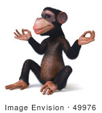 #49976 Royalty-Free (Rf) Illustration Of A 3d Chimpanzee Mascot Meditating - Pose 2