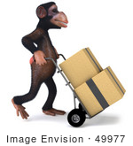 #49977 Royalty-Free (Rf) Illustration Of A 3d Chimpanzee Mascot Delivering Boxes - Pose 2