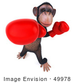 #49978 Royalty-Free (Rf) Illustration Of A 3d Chimp Mascot Boxing - Pose 3
