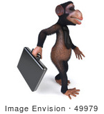 #49979 Royalty-Free (Rf) Illustration Of A 3d Chimp Mascot With A Business Briefcase - Pose 2