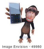 #49980 Royalty-Free (Rf) Illustration Of A 3d Chimp Mascot Holding A Cellular Phone - Version 2