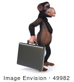 #49982 Royalty-Free (Rf) Illustration Of A 3d Chimpanzee Mascot Carrying A Briefcase - Pose 2