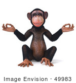 #49983 Royalty-Free (Rf) Illustration Of A 3d Chimpanzee Mascot Meditating - Pose 1