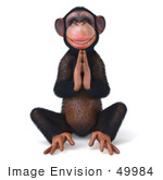 #49984 Royalty-Free (Rf) Illustration Of A 3d Chimpanzee Mascot Meditating - Pose 3