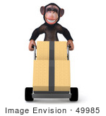 #49985 Royalty-Free (Rf) Illustration Of A 3d Chimpanzee Mascot Delivering Boxes - Pose 1