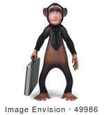 #49986 Royalty-Free (Rf) Illustration Of A 3d Chimpanzee Mascot Carrying A Briefcase - Pose 1
