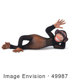 #49987 Royalty-Free (Rf) Illustration Of A 3d Chimp Mascot Relaxing And Waving