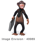 #49989 Royalty-Free (Rf) Illustration Of A 3d Chimp Mascot Walking With A Business Briefcase