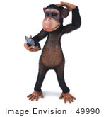 #49990 Royalty-Free (Rf) Illustration Of A 3d Chimp Mascot Holding A Cellular Phone - Version 1