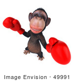 #49991 Royalty-Free (Rf) Illustration Of A 3d Chimp Mascot Boxing - Pose 1