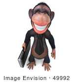 #49992 Royalty-Free (Rf) Illustration Of A 3d Chimp Mascot With A Business Briefcase - Pose 1