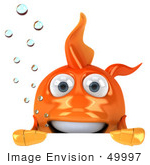 #49997 Royalty-Free (Rf) Illustration Of A 3d Goldfish Mascot With Bubbles Looking Over A Blank Sign Board
