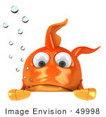 #49998 Royalty-Free (Rf) Illustration Of A 3d Goldfish Mascot With Bubbles Pouting Over A Blank Sign