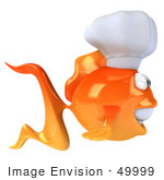 #49999 Royalty-Free (Rf) Illustration Of A 3d Goldfish Mascot Wearing A Chef Hat