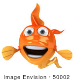 #50002 Royalty-Free (Rf) Illustration Of A 3d Happy Goldfish Mascot Facing Forward