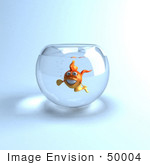 #50004 Royalty-Free (Rf) Illustration Of A 3d Happy Goldfish Mascot In A Bowl
