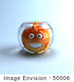#50006 Royalty-Free (Rf) Illustration Of A 3d Happy Fat Goldfish Mascot In A Small Fish Bowl