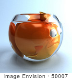 #50007 Royalty-Free (Rf) Illustration Of A 3d Pouty Fat Goldfish Mascot In A Small Fish Bowl