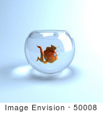 #50008 Royalty-Free (Rf) Illustration Of A 3d Lonely Goldfish Mascot In A Bowl