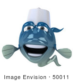 #50011 Royalty-Free (Rf) Illustration Of A 3d Blue Chef Fish Mascot Facing Forward