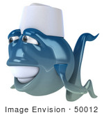 #50012 Royalty-Free (Rf) Illustration Of A 3d Blue Chef Fish Mascot Facing Left
