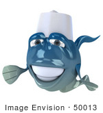 #50013 Royalty-Free (Rf) Illustration Of A 3d Blue Chef Fish Mascot With A Hat - Version 1