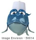 #50014 Royalty-Free (Rf) Illustration Of A 3d Blue Chef Fish Mascot With A Hat - Version 2