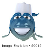 #50015 Royalty-Free (Rf) Illustration Of A 3d Blue Chef Fish Mascot Facing Front