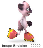 #50020 Royalty-Free (Rf) Illustration Of A 3d Pink Cat Mascot Roller Blading - Version 4