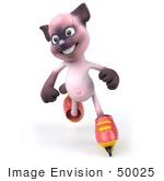 #50025 Royalty-Free (Rf) Illustration Of A 3d Pink Cat Mascot Roller Blading - Version 2