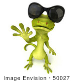 #50027 Royalty-Free (Rf) Illustration Of A 3d Green Gecko Mascot Waving And Wearing Shades