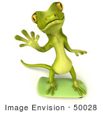 #50028 Royalty-Free (Rf) Illustration Of A 3d Green Gecko Mascot Skateboarding - Version 1