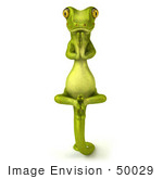#50029 Royalty-Free (Rf) Illustration Of A 3d Green Gecko Mascot In Meditation