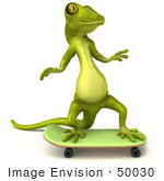 #50030 Royalty-Free (Rf) Illustration Of A 3d Green Gecko Mascot Skateboarding - Version 2