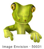 #50031 Royalty-Free (Rf) Illustration Of A 3d Green Gecko Mascot Pointing Down At And Standing Behind A Blank Sign - Pose 1