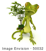 #50032 Royalty-Free (Rf) Illustration Of A 3d Green Gecko Mascot Holding A Ficus