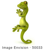 #50033 Royalty-Free (Rf) Illustration Of A 3d Green Gecko Mascot In Profile Meditating And Perched Up On His Tail