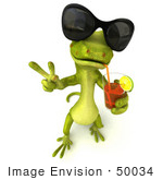 #50034 Royalty-Free (Rf) Illustration Of A 3d Green Gecko Mascot Wearing Shades And Sipping Juice