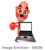 #50036 Royalty-Free (Rf) Illustration Of A 3d Red Fox Mascot Holding A Laptop - Pose 4
