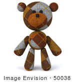 #50038 Royalty-Free (Rf) Illustration Of A 3d Knitted Teddy Bear Mascot Standing And Facing Front