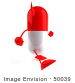 #50039 Royalty-Free (Rf) Illustration Of A 3d Red Devil Pill Capsule Mascot Walking Right