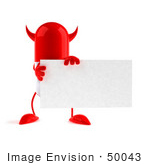 #50043 Royalty-Free (Rf) Illustration Of A 3d Red Devil Pill Capsule Mascot Holding A Blank Business Card - Version 1