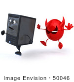 #50046 Royalty-Free (Rf) Illustration Of A 3d Computer Case Mascot Running From A Devil Virus - Version 3