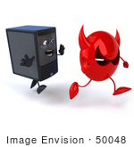 #50048 Royalty-Free (Rf) Illustration Of A 3d Computer Case Mascot Chasing Away A Red Devil Virus - Version 2