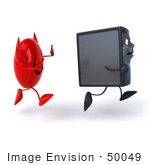 #50049 Royalty-Free (Rf) Illustration Of A 3d Computer Case Mascot Running From A Devil Virus - Version 2