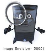#50051 Royalty-Free (Rf) Illustration Of A 3d Computer Case Mascot Using A Magnifying Glass - Version 2
