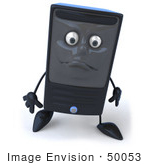 #50053 Royalty-Free (Rf) Illustration Of A 3d Computer Case Mascot With A Sad Face