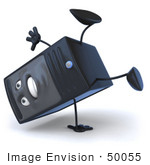 #50055 Royalty-Free (Rf) Illustration Of A 3d Computer Case Mascot Doing A Hand Stand